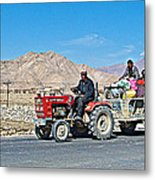Tractor Towing A Wagon Along The Road To Shigatse-tibet Metal Print