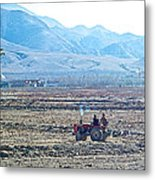 Tractor Used In Farming Along The Road To Shigatse-tibet Metal Print