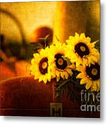 Tractors And Sunflowers Metal Print