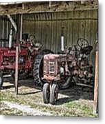 Tractors In The Shed Metal Print
