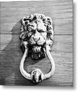 traditional antique brass lion head door knocker on wooden door Tenerife Canary Islands Spain Metal Print