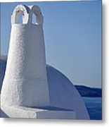 Traditional Chimney In Oia Town Metal Print