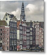 Traditional Dutch Houses Over A Canal Metal Print