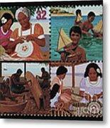 Traditional Pacific Handicrafts Postage Stamp Print Metal Print
