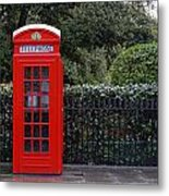 Traditional Red Telephone Box In London Metal Print