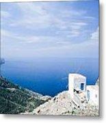 Traditional Windmill On Karpathos Island - Greece Metal Print