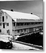 traditional wooden warehouse in Honningsvag harbour finnmark norway europe Metal Print by Joe Fox