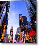 Traffic Cop In Times Square New York City Metal Print