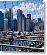Traffic On A Bridge, Brooklyn Bridge Metal Print