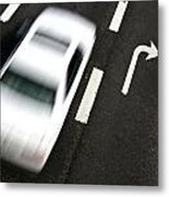 Traffic On A Street Of A Village With A Fast Car Passing Shot F Metal Print