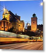 Traffic On The Solidarity Avenue In Warsaw Metal Print