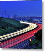 Traffic Trails At High Way Metal Print