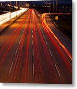 Traffic Trails At Twilight Metal Print