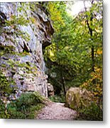 Trail Beside The Cliff Wildcat Den State Park Metal Print