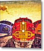 Train Art At Union Station Metal Print