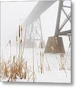 Train Bridge Lost In Fog Metal Print