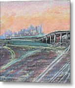 Train Coming At Sunset In West Oakland Metal Print by Asha Carolyn Young