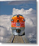 Train In Clouds Metal Print