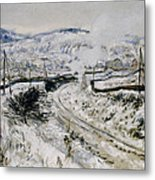 Train In The Snow At Argenteuil Metal Print by Claude Monet