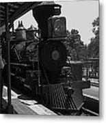 Train Ride Magic Kingdom Black And White Metal Print