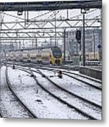 Train Station Zwolle In Winter Netherlands Metal Print