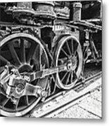 Train - Steam Engine Wheels - Black And White Metal Print