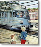 Train Stop At The Diner Metal Print by Chris Dreher