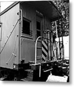 Train - The Caboose - Black And White Metal Print