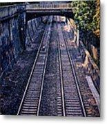 Train Tracks Into Town Metal Print
