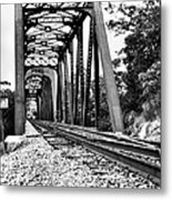 Train Trestle In B/w Metal Print
