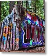 Train Wreck Art In The Forest Metal Print