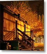Train Yard At Night Metal Print by Donald Torgerson