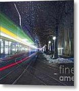 Tram At Night In Zurich Bahnhofstrasse Metal Print