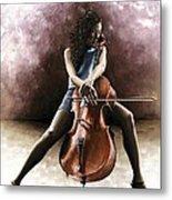 Tranquil Cellist Metal Print