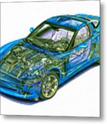 Transparent Car Concept Made In 3d Graphics 11 Metal Print