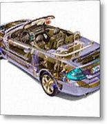 Transparent Car Concept Made In 3d Graphics 6 Metal Print