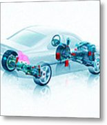 Transparent Car Concept Made In 3d Graphics 7 Metal Print