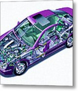 Transparent Car Concept Made In 3d Graphics 8 Metal Print