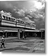 Transportation Station In Black And White Walt Disney World Metal Print