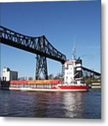 Transporter Bridge Over Canal Rendsburg Metal Print