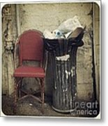 Trash And Chair Asking Please Take Me Home Metal Print by Victoria Herrera