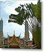 Traveler's Palm At Grand Palace Of Thailand In Bangkok Metal Print