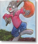 Traveling Rabbit Metal Print