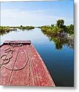 Traveling Through Tonle Sap Lake Metal Print