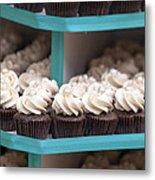Trays Of Cupcakes Closeup Metal Print