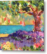 Tree And Flowers By The Water Metal Print