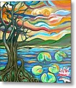Tree And Lilies At Sunrise Metal Print