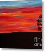 Tree At Sunset II Metal Print