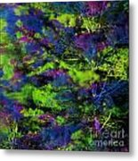 Tree Branches Lit With Abstract Colorful Projection Metal Print