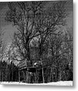 Tree House In Black And White Metal Print